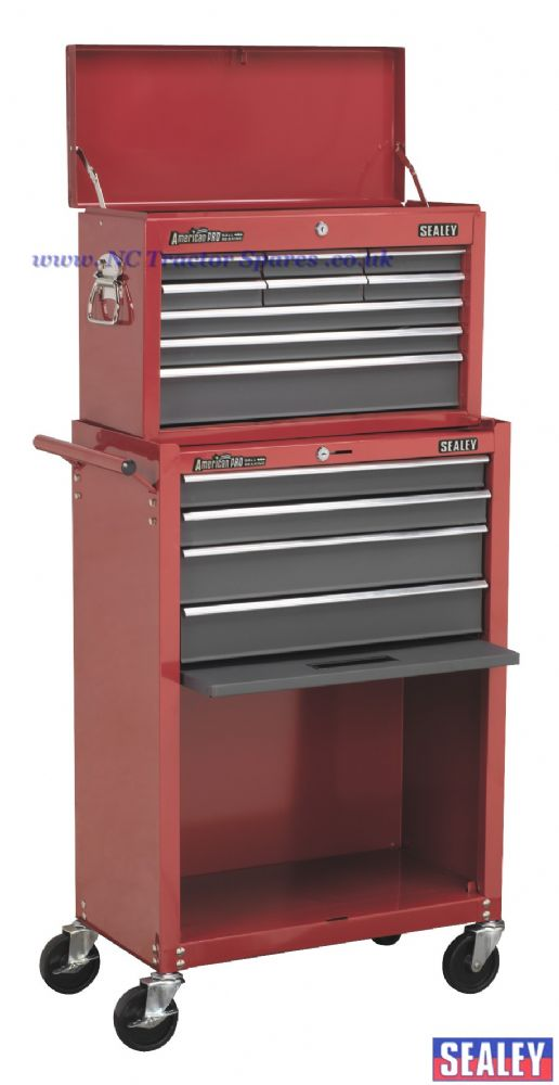 Topchest & Rollcab Combination 13 Drawer with Ball Bearing Runners - Red/Grey